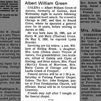 Albert Green obit - Freeport Jounal-Standard 12 May 1972